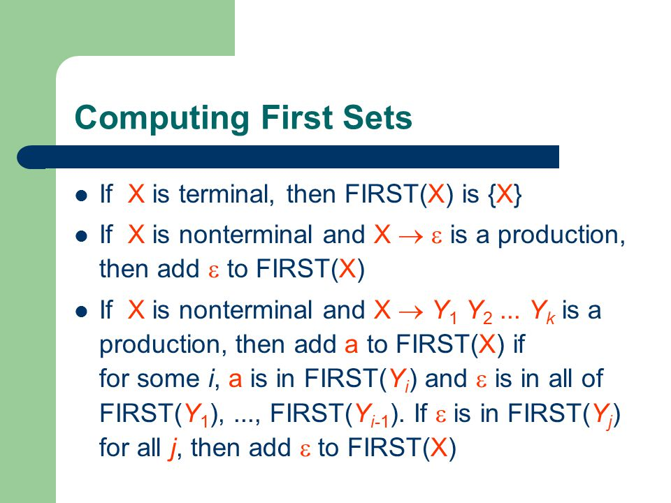 Computing First Sets If X is terminal, then FIRST(X) is {X}