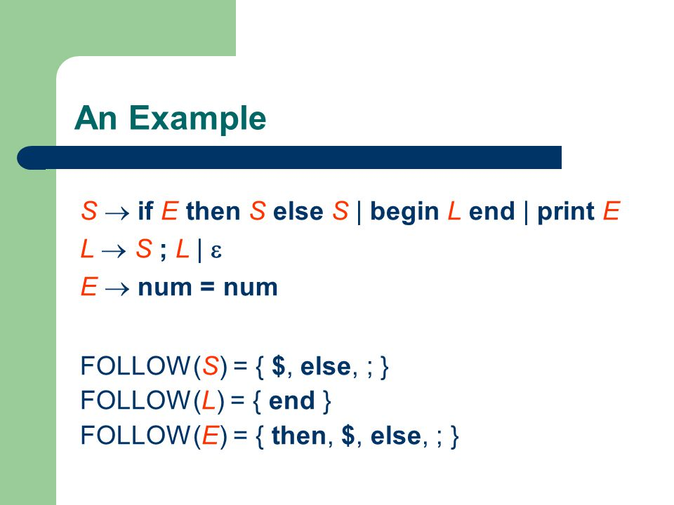 An Example S  if E then S else S | begin L end | print E