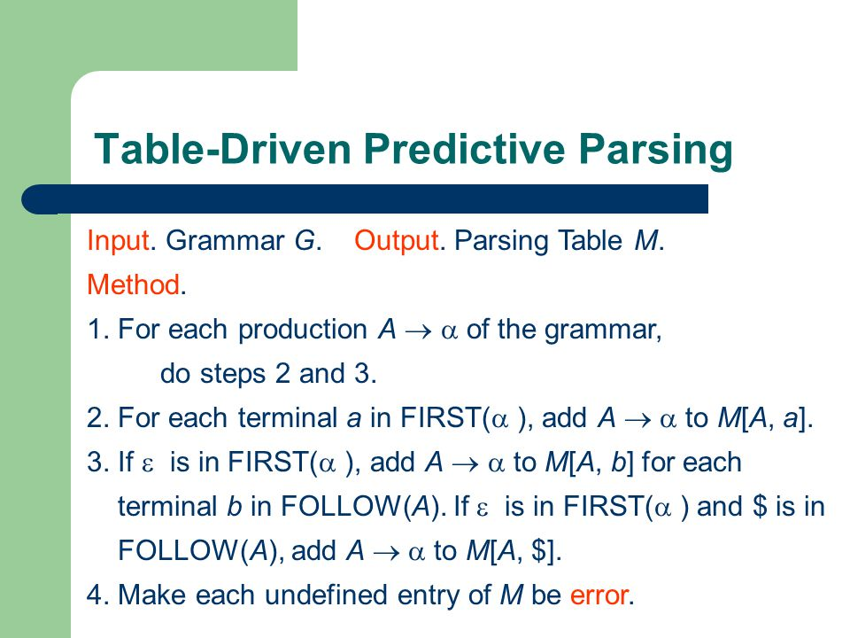 Table-Driven Predictive Parsing