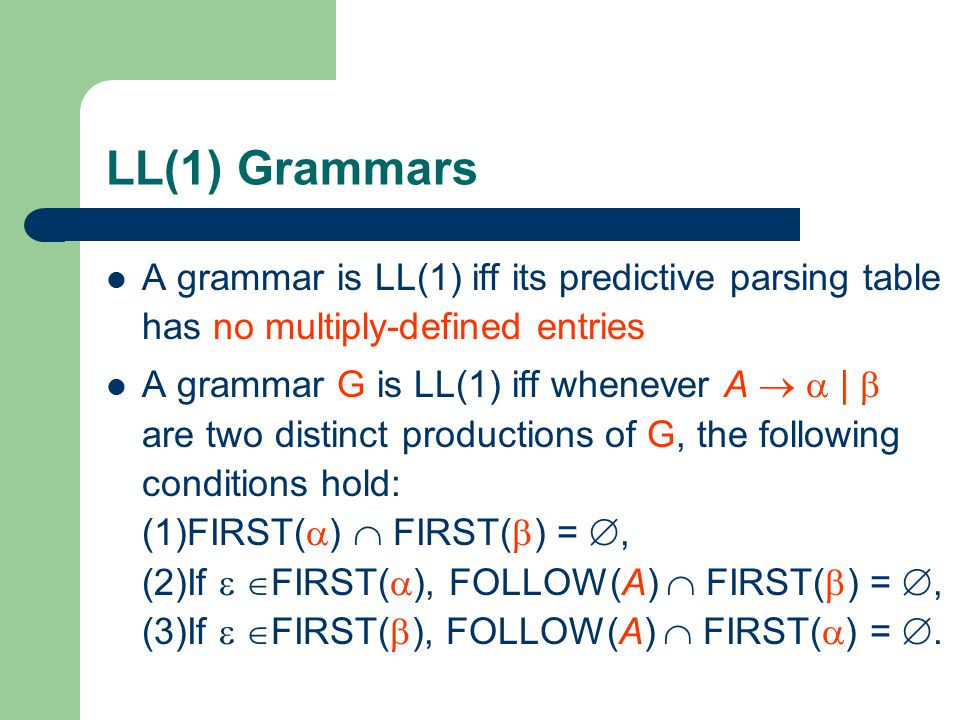 LL(1) Grammars A grammar is LL(1) iff its predictive parsing table has no multiply-defined entries.