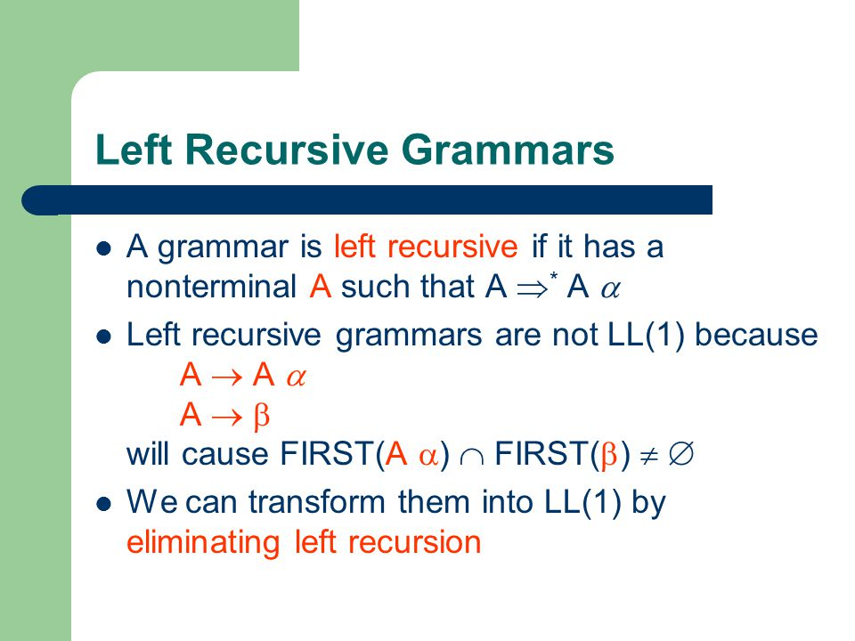Left Recursive Grammars
