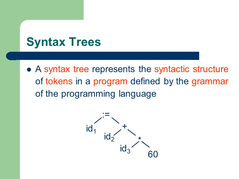 Syntax Trees A syntax tree represents the syntactic structure of tokens in a program defined by the grammar of the programming language.