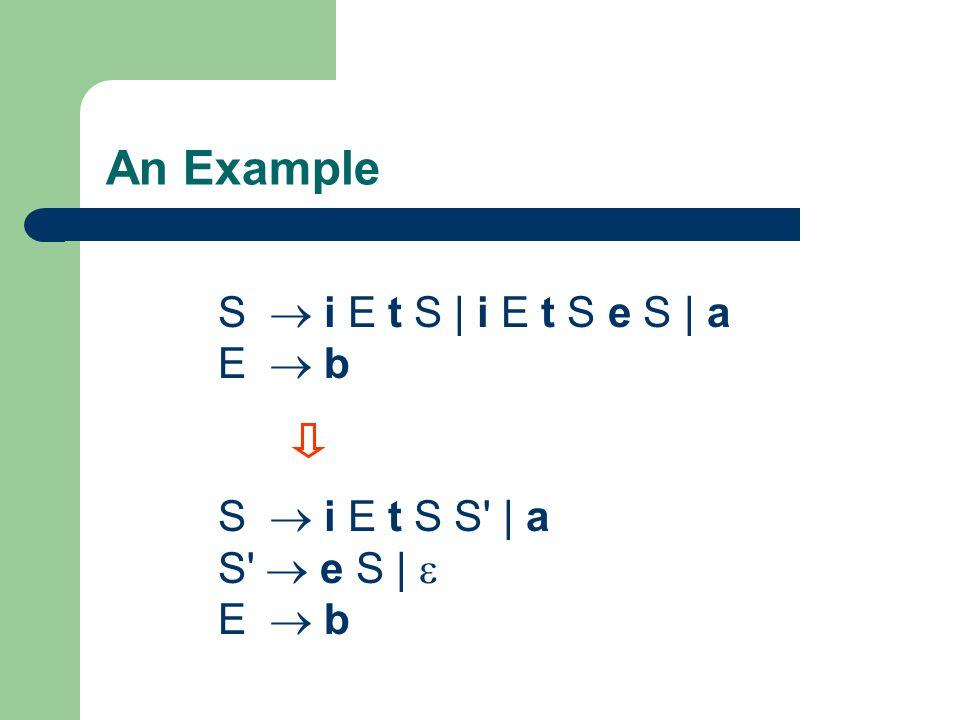 An Example S  i E t S | i E t S e S | a E  b S  i E t S S | a