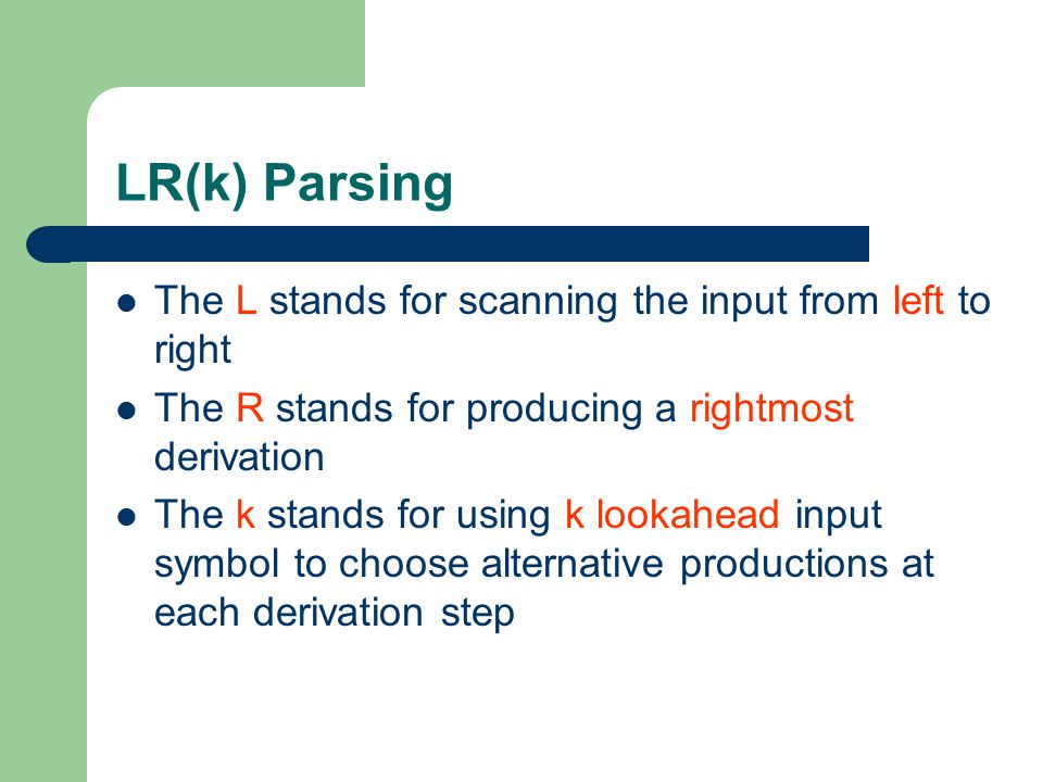 LR(k) Parsing The L stands for scanning the input from left to right