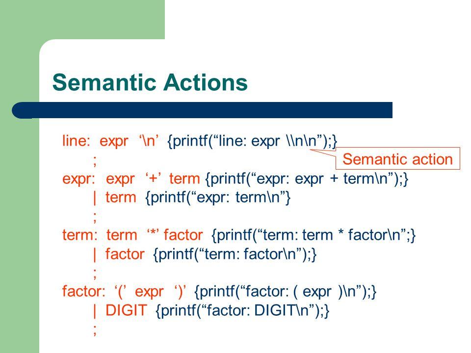 Semantic Actions line: expr '\n' {printf( line: expr \\n\n );} ;