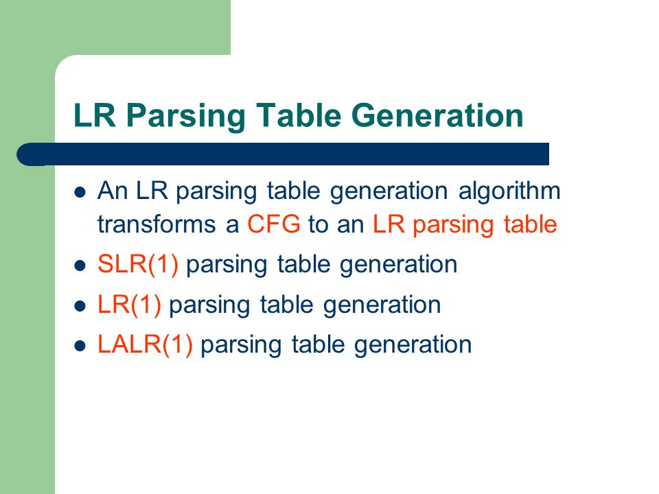 LR Parsing Table Generation