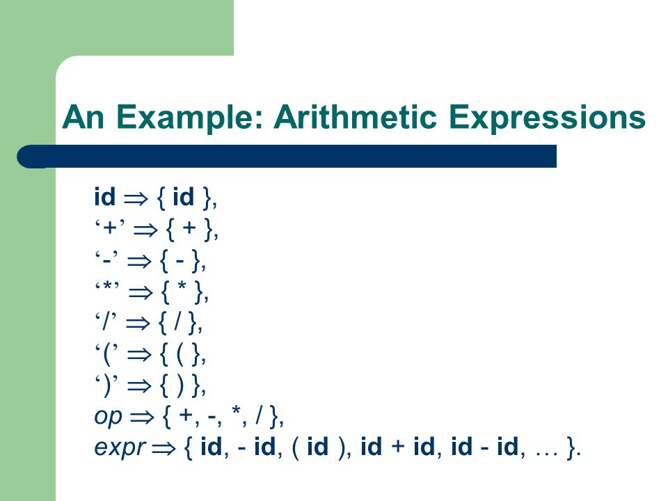 An Example: Arithmetic Expressions