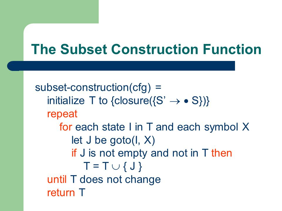 The Subset Construction Function