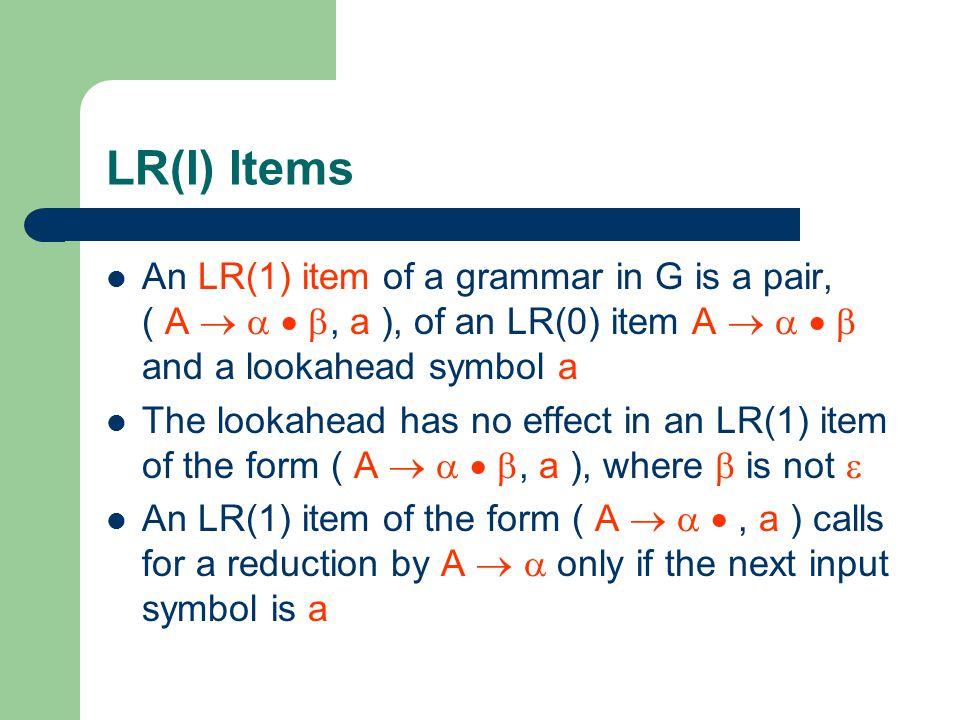 LR(I) Items An LR(1) item of a grammar in G is a pair, ( A    , a ), of an LR(0) item A     and a lookahead symbol a.