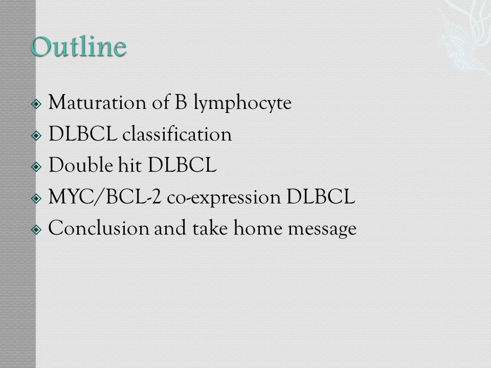 Outline Maturation of B lymphocyte DLBCL classification