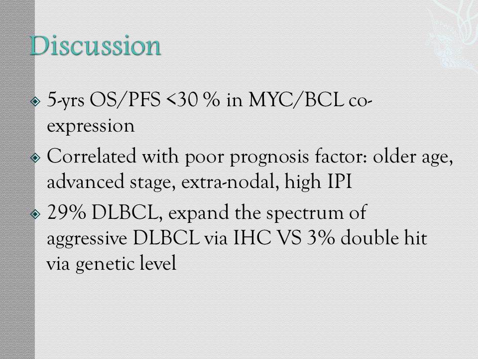 Discussion 5-yrs OS/PFS <30 % in MYC/BCL co- expression