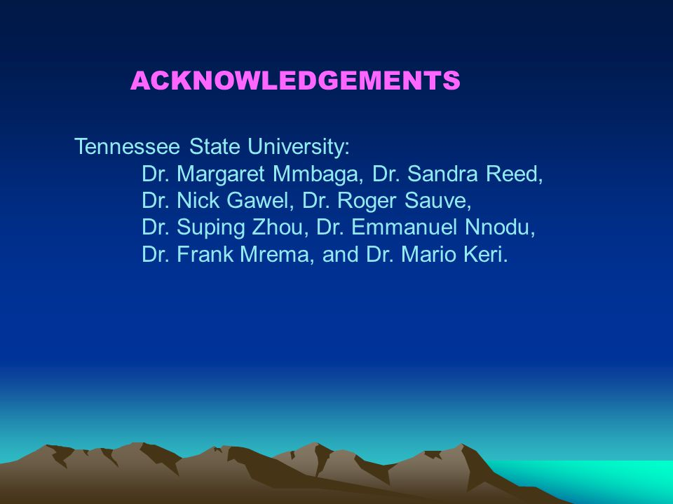 ACKNOWLEDGEMENTS Tennessee State University: