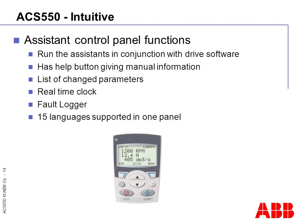 Assistant control panel functions