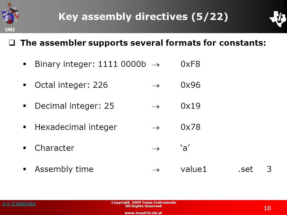Key assembly directives (5/22)