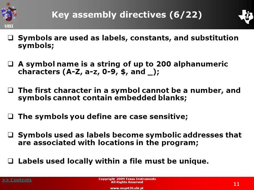 Key assembly directives (6/22)