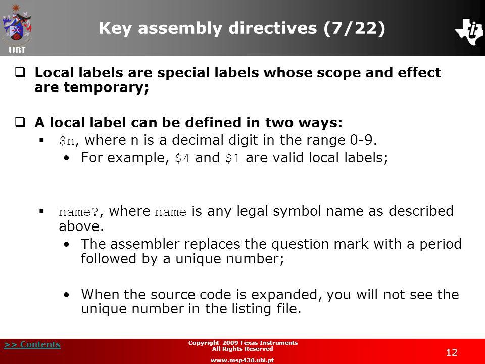 Key assembly directives (7/22)