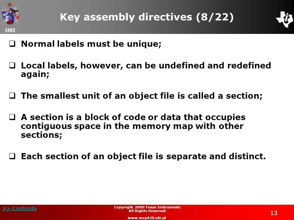 Key assembly directives (8/22)