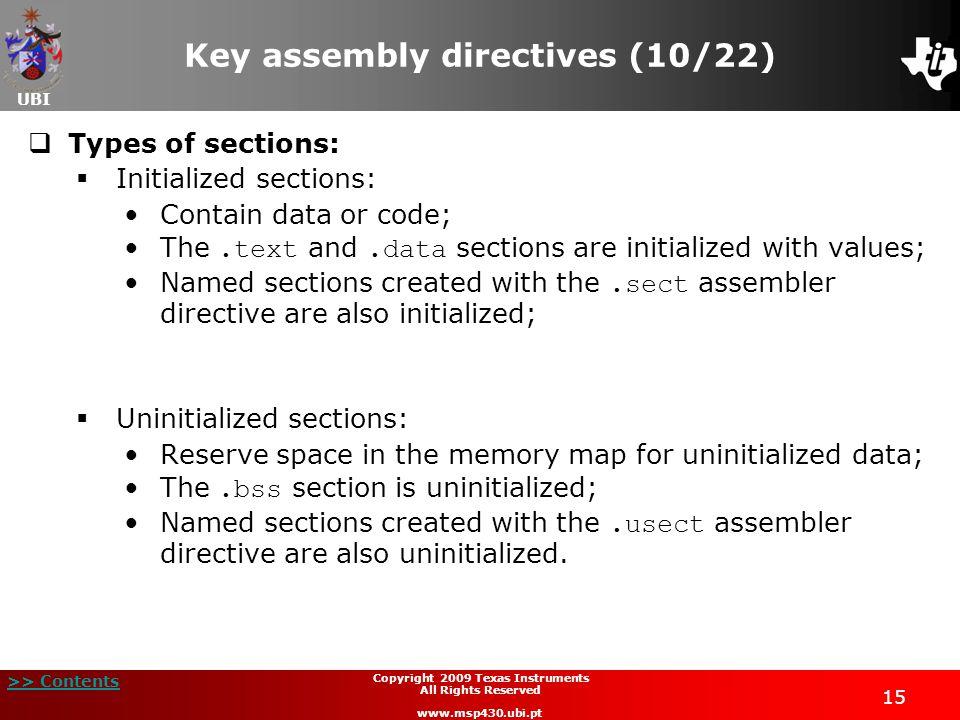 Key assembly directives (10/22)