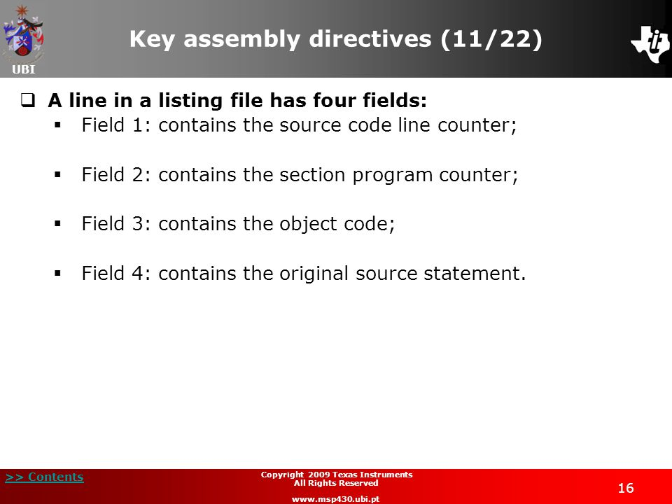 Key assembly directives (11/22)