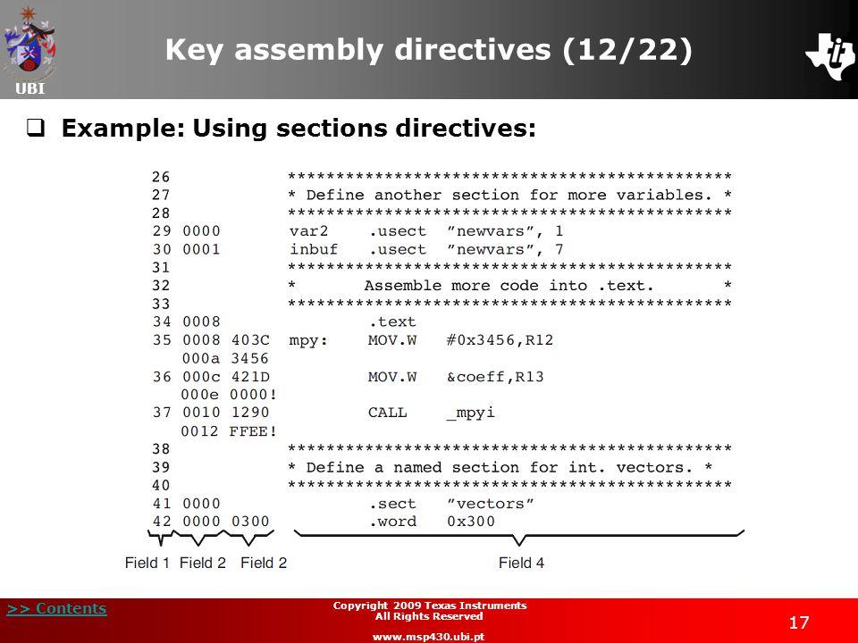 Key assembly directives (12/22)
