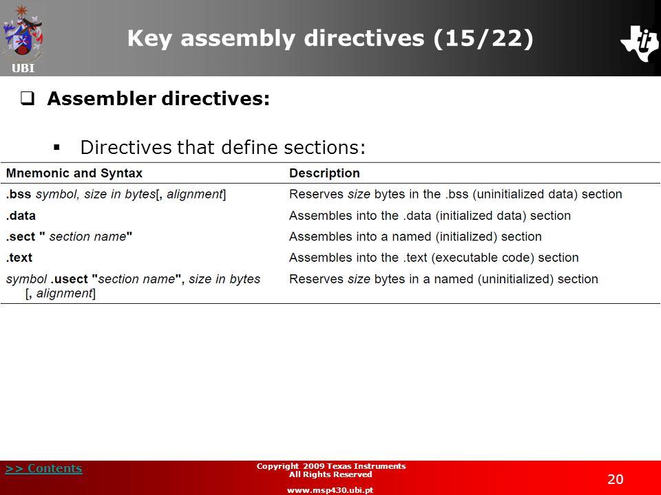 Key assembly directives (15/22)
