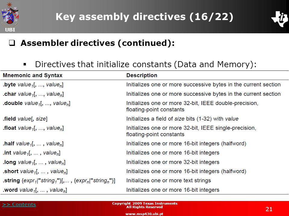 Key assembly directives (16/22)