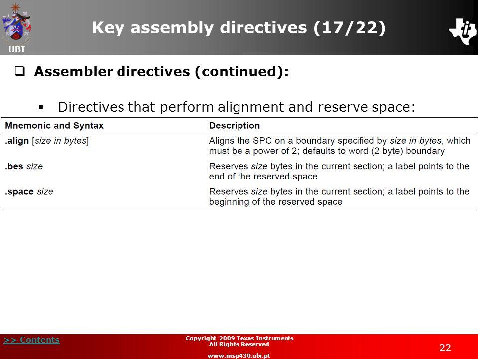 Key assembly directives (17/22)