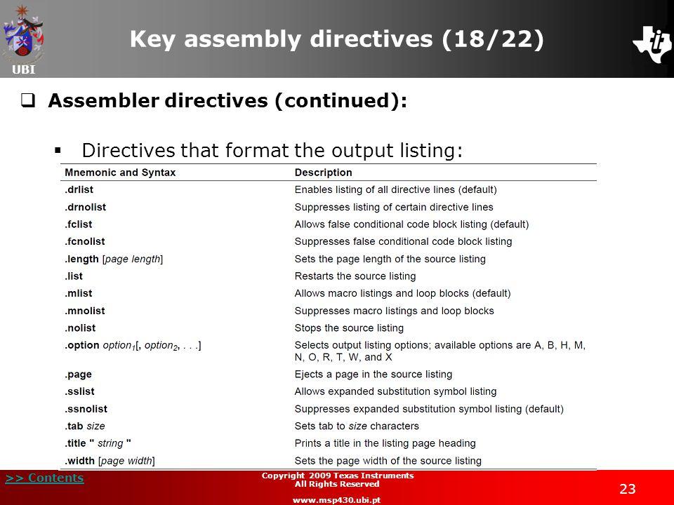Key assembly directives (18/22)