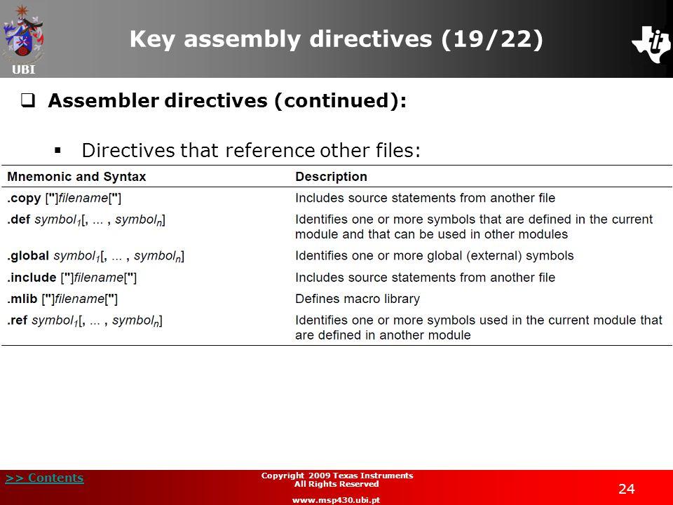 Key assembly directives (19/22)