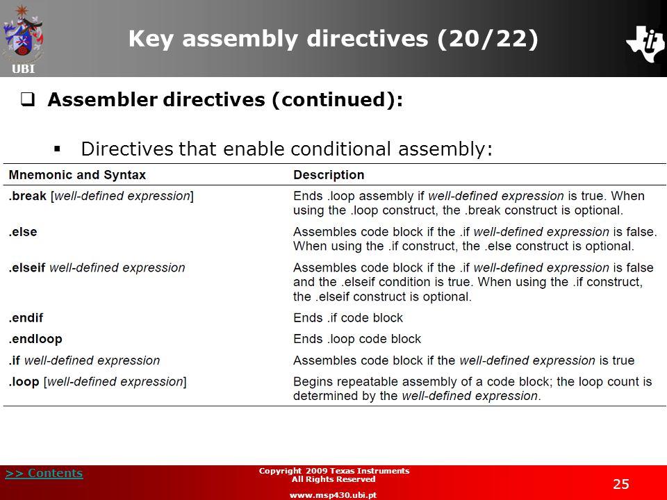 Key assembly directives (20/22)