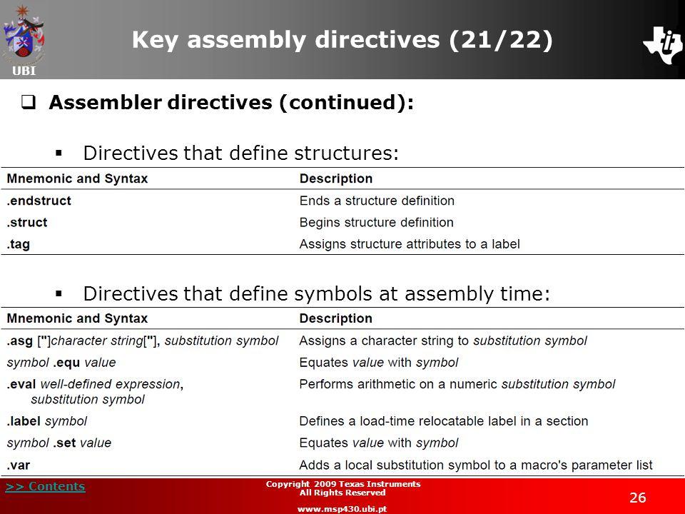 Key assembly directives (21/22)