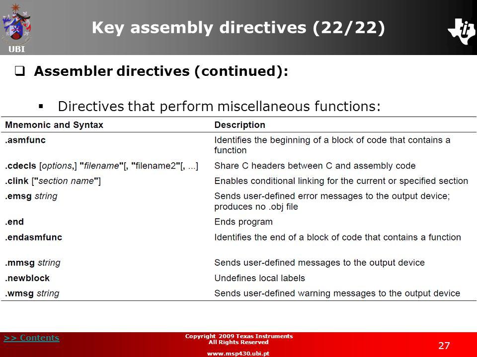 Key assembly directives (22/22)