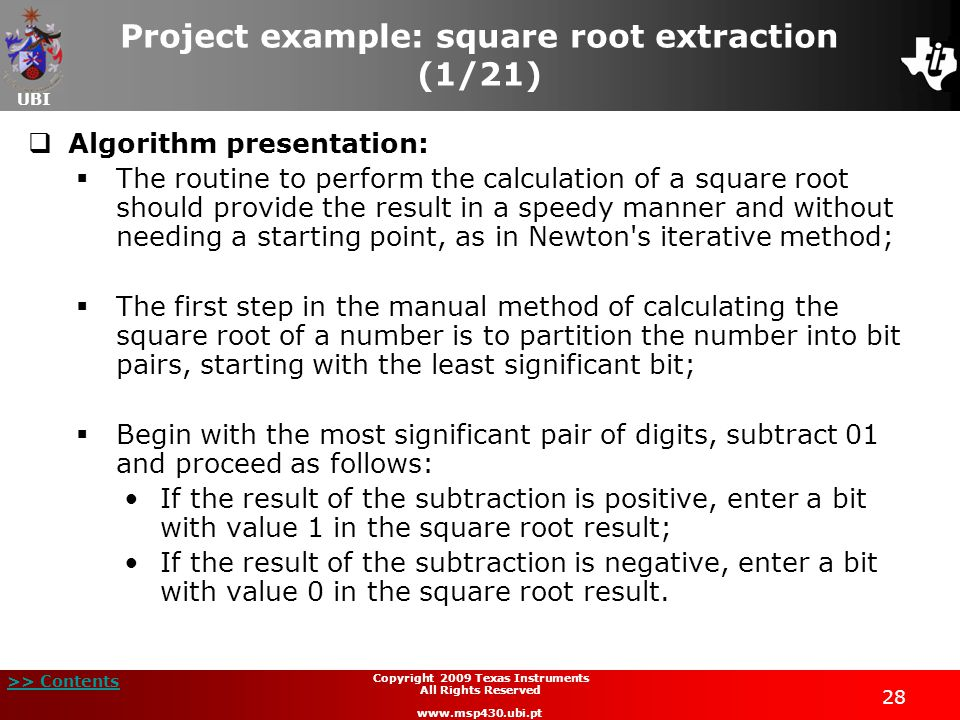 Project example: square root extraction (1/21)