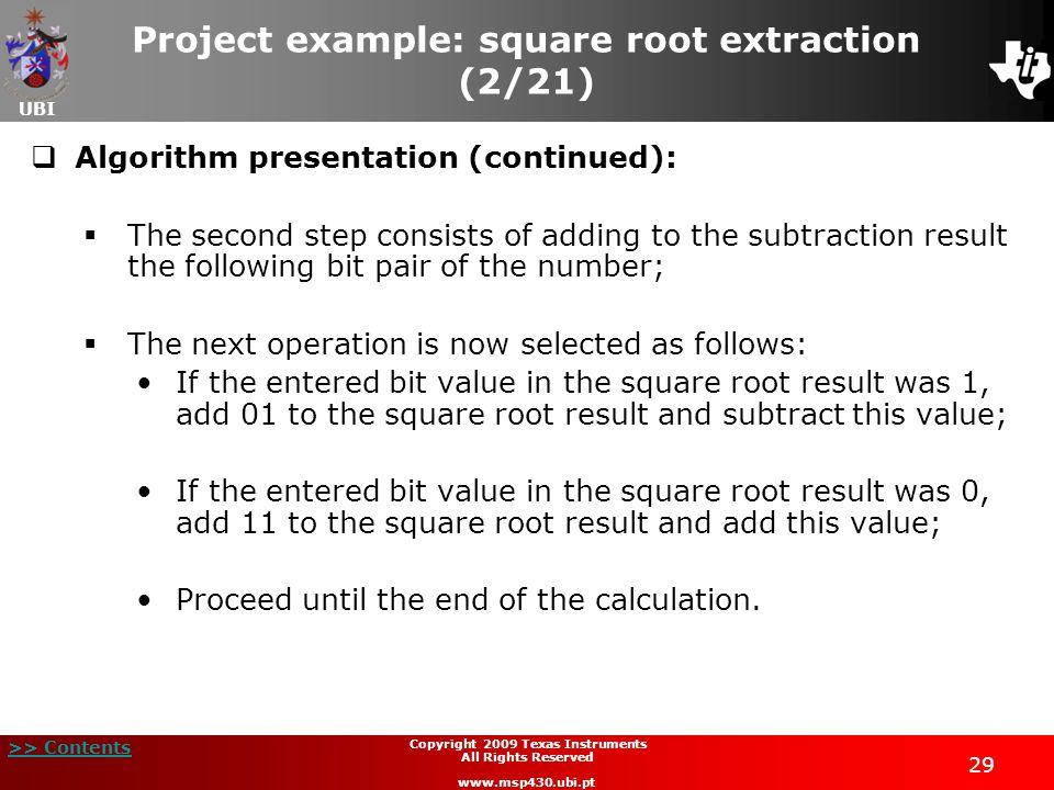 Project example: square root extraction (2/21)