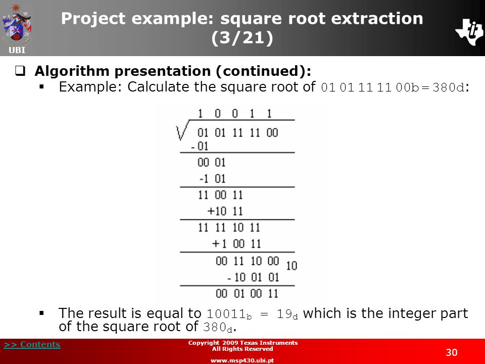 Project example: square root extraction (3/21)