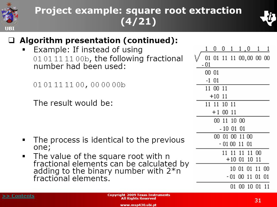 Project example: square root extraction (4/21)