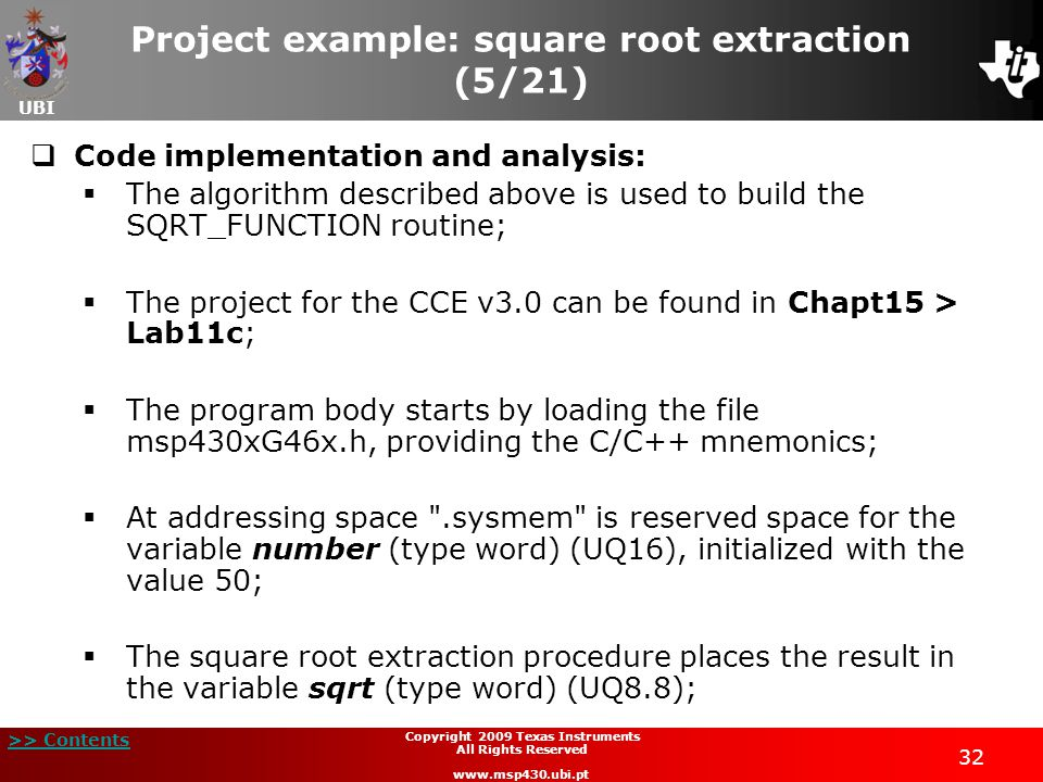 Project example: square root extraction (5/21)