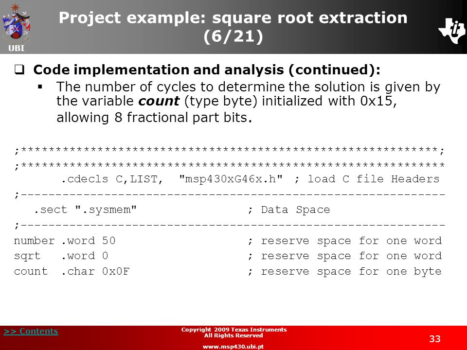Project example: square root extraction (6/21)