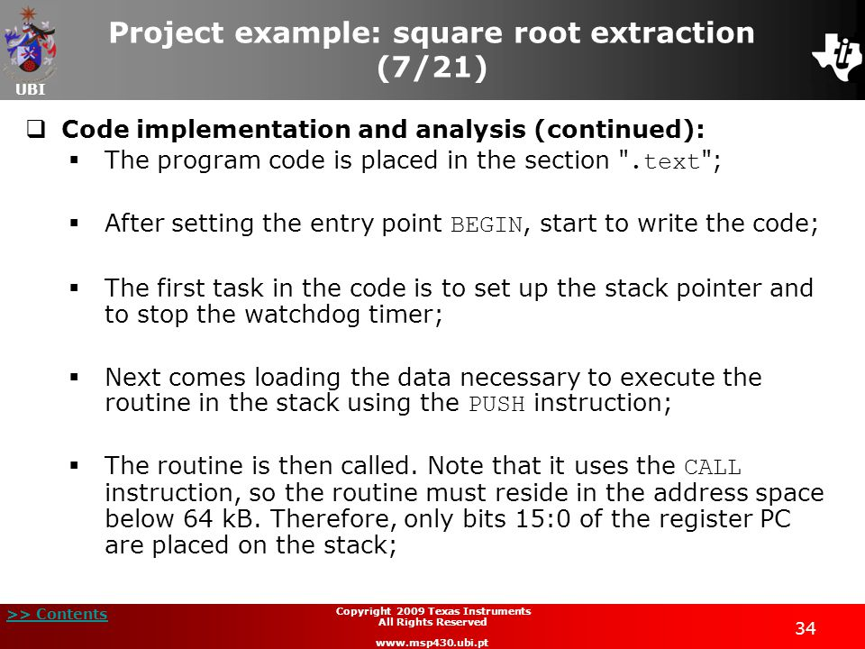 Project example: square root extraction (7/21)