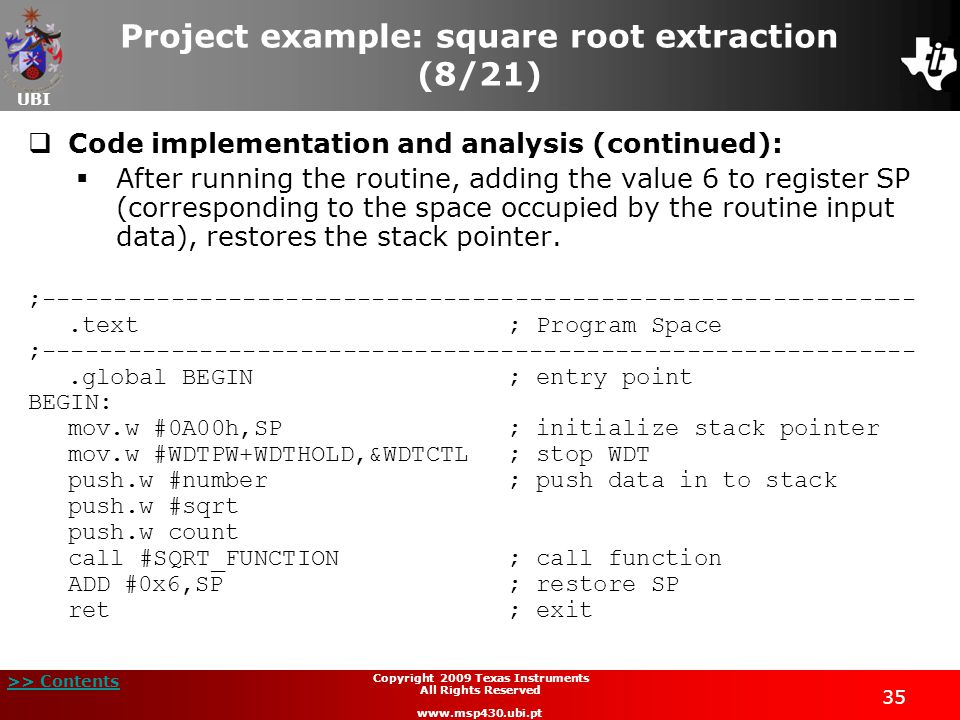 Project example: square root extraction (8/21)