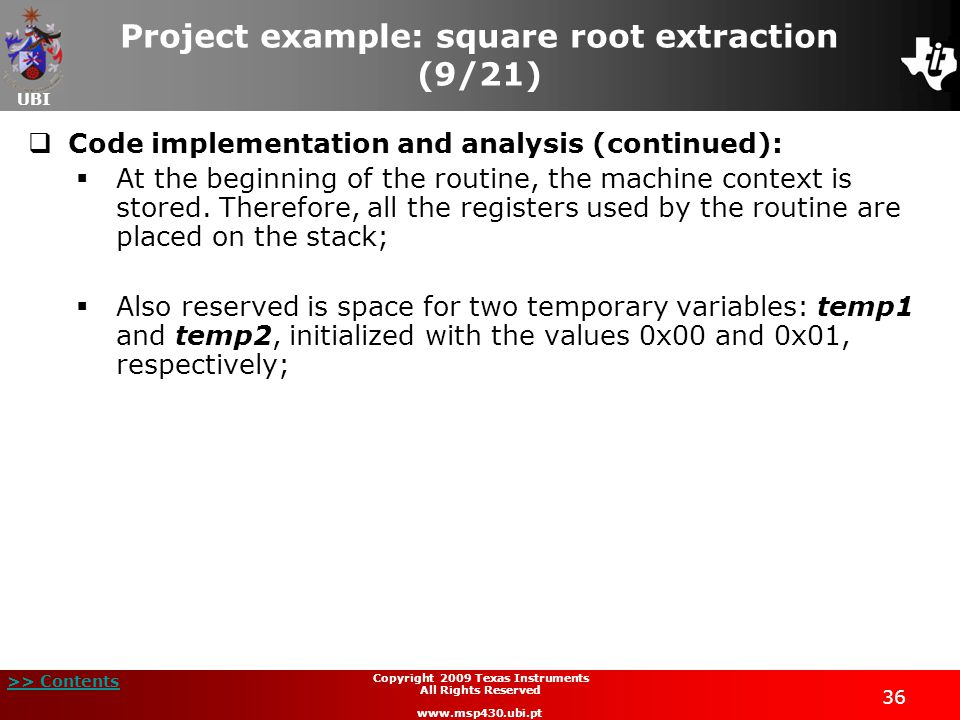 Project example: square root extraction (9/21)