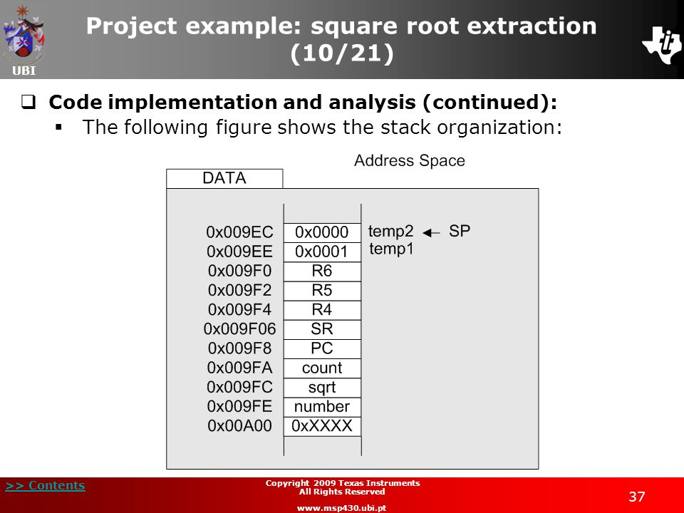 Project example: square root extraction (10/21)
