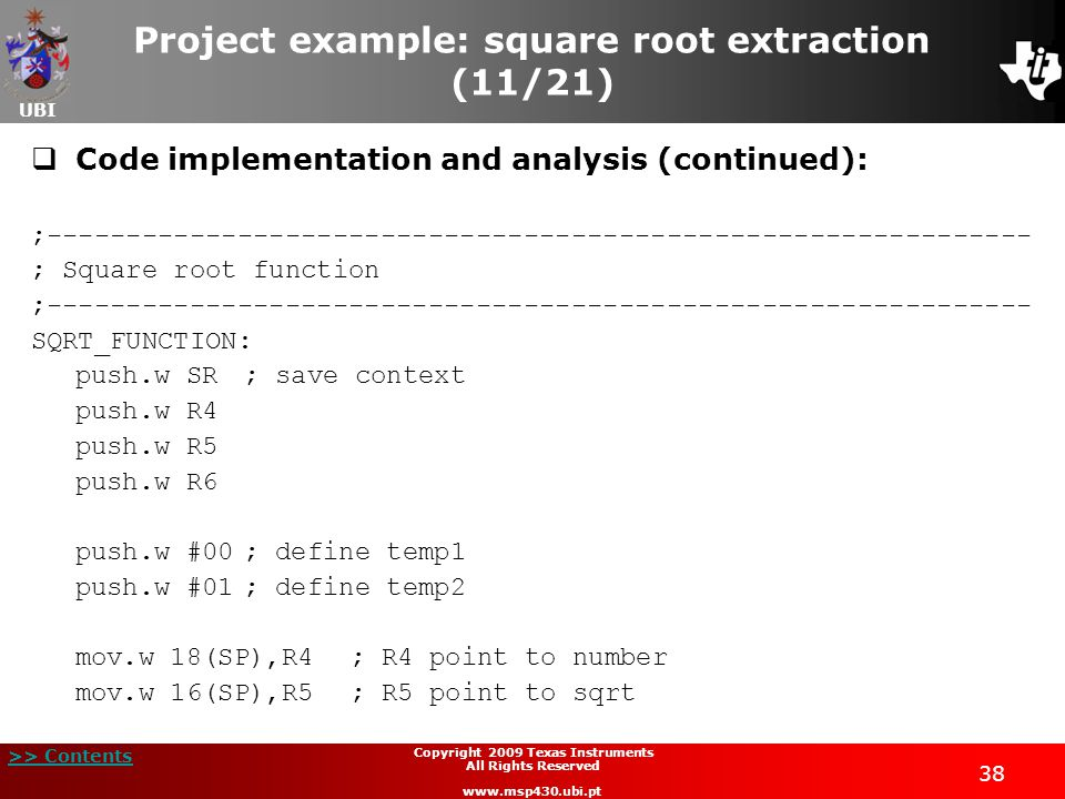 Project example: square root extraction (11/21)