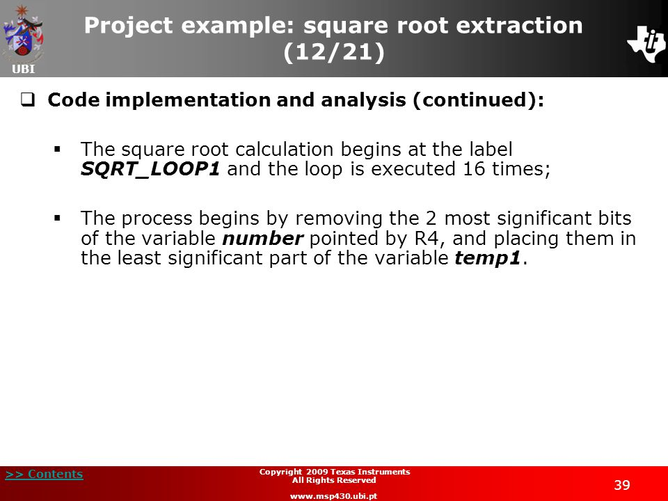 Project example: square root extraction (12/21)