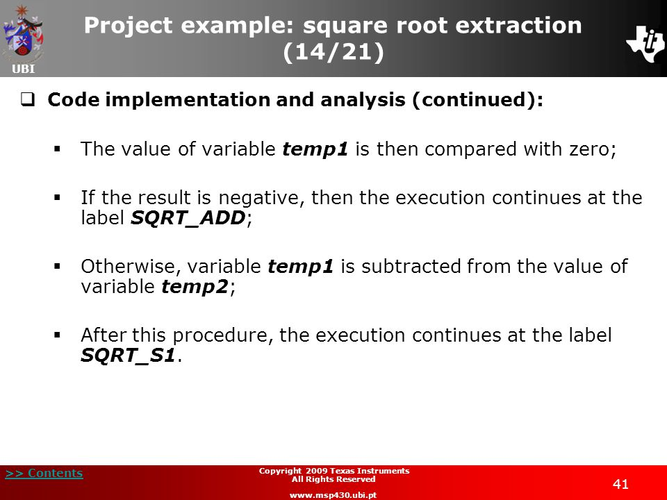 Project example: square root extraction (14/21)