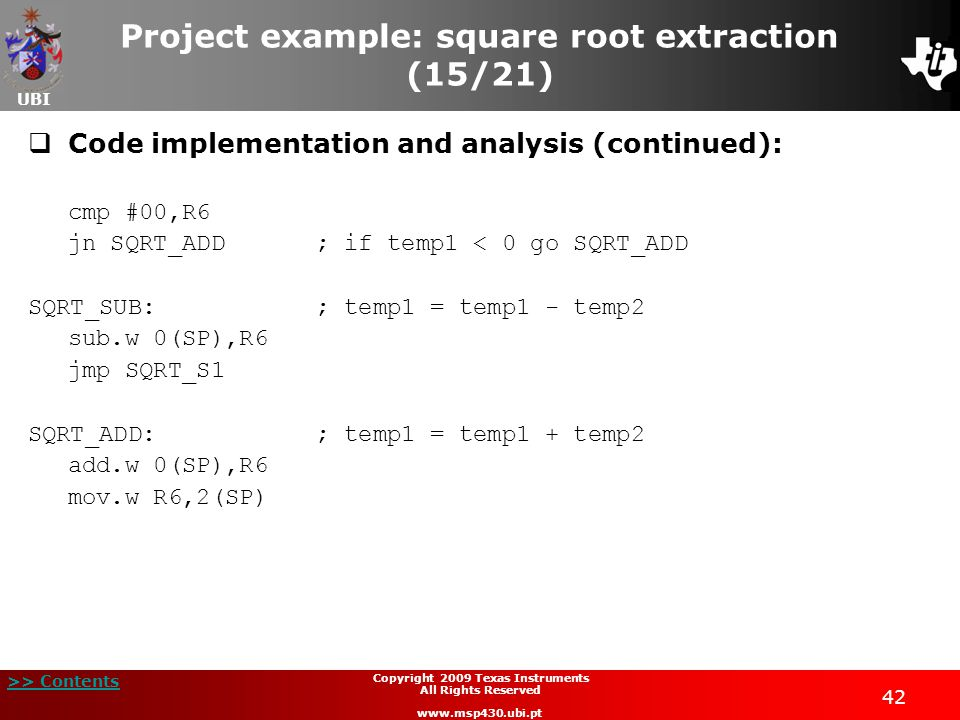 Project example: square root extraction (15/21)
