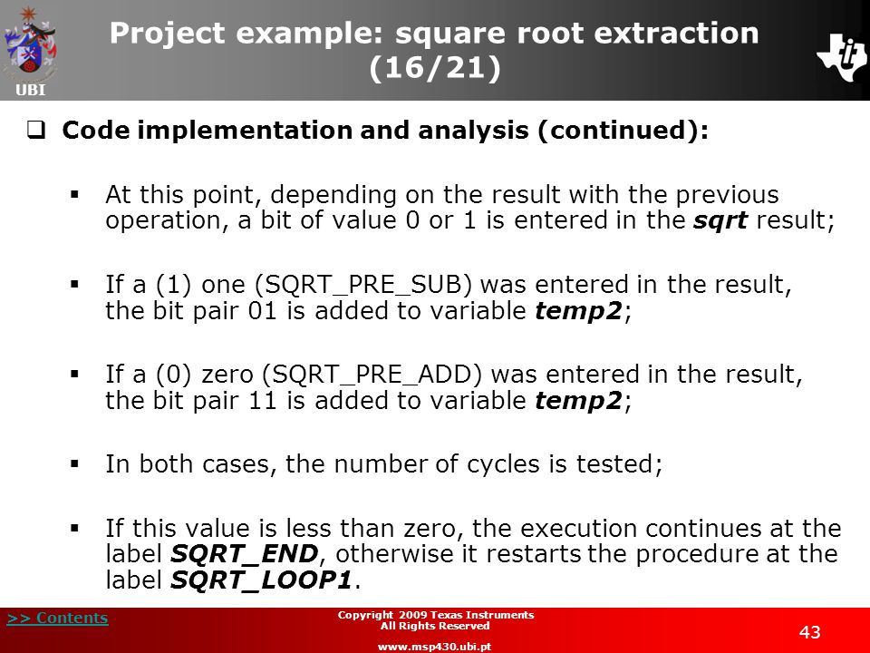 Project example: square root extraction (16/21)