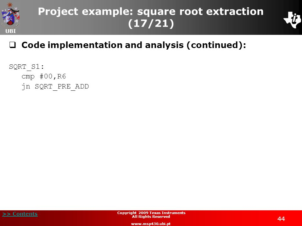 Project example: square root extraction (17/21)
