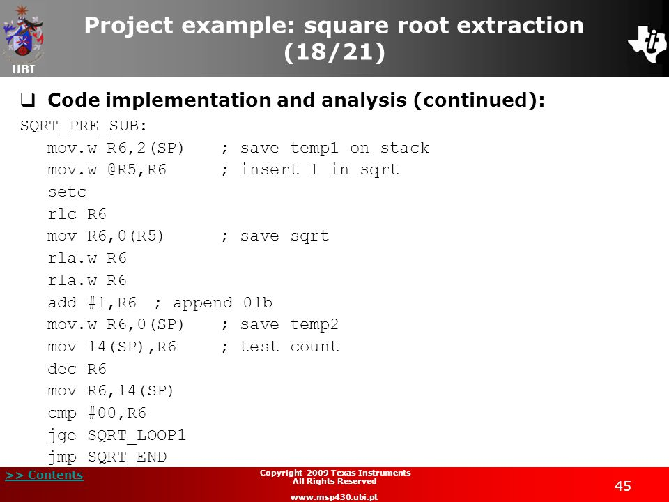 Project example: square root extraction (18/21)