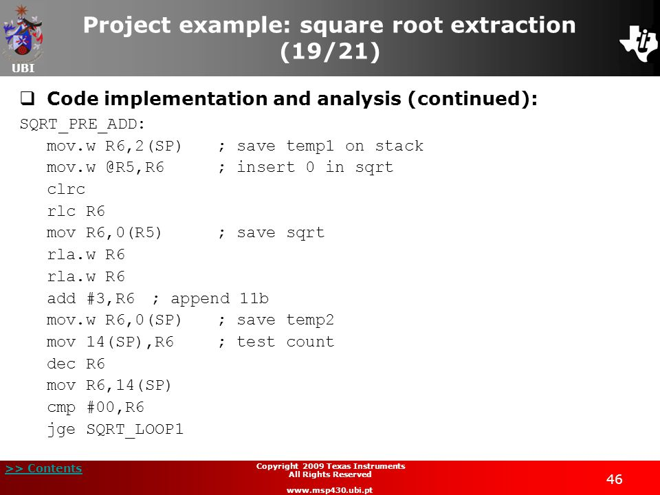 Project example: square root extraction (19/21)